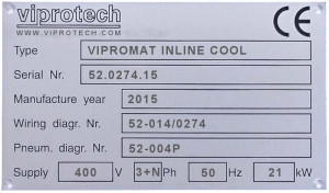 Viprotech type plate to identify the machine model