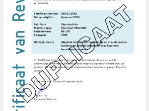 Uitstekende gebruikte machines herkent u aan een Certificaat van Revisie
